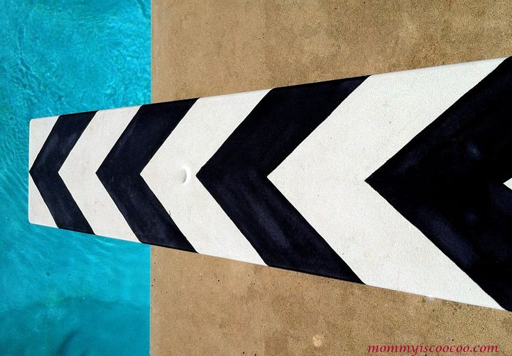 Create a one of a kind diving board with homemade chalk paint and my chevron stripe tutorial. Chalk Paint, Chevron Stripe Diving Board.