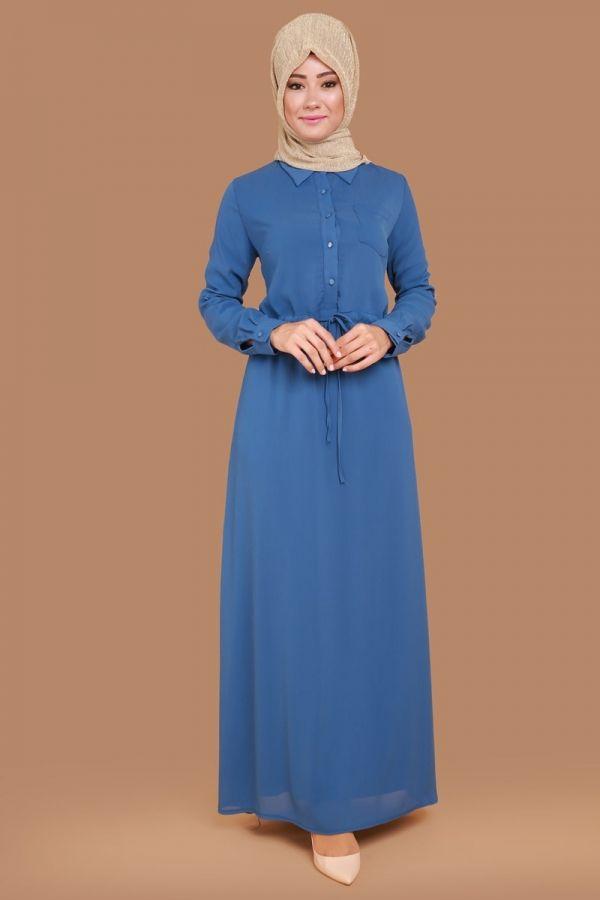 Önden Düğmeli Bağcıklı Elbise İndigo Ürün kodu: ZMN2179 --> 99.90 TL