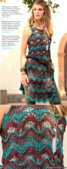 Вязаная туника, узор в стиле Миссони, вязание, спицы