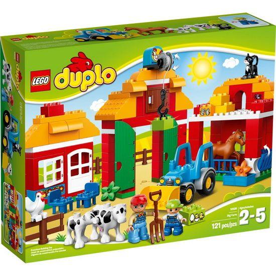 L'ensemble de la grande ferme, avec des modèles à construire, a tout ce dont votre enfant a besoin pour vivre à la ferme ! ll y a une grange pour stocker la nourriture, une ferme pour abriter les animaux et une écurie pour le cheval. Dans la cour, les vaches savourent leur nourriture tandis que le tracteur est prêt à commencer à travailler dans les champs. Cet ensemble est parfait pour des heures de jeu de rôle amusant. Inclut 2 figurines LEGO® DUPLO® : un fermier et un enfant.