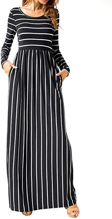 b8394361169a Amazon.com: Women Long Sleeve Loose Swing Causal Maxi Long Dress with  Pockets Black