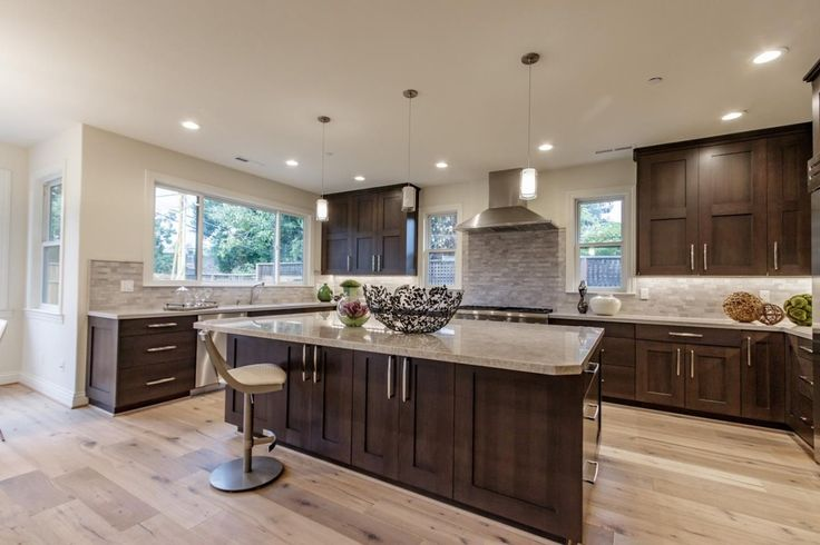 Transitional Kitchen with Complex granite counters, Kitchen island, Undermount sink, Flush, Scales 1 Light Mini Pendant
