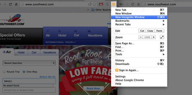 Use a private or incognito window when booking flights and hotels online