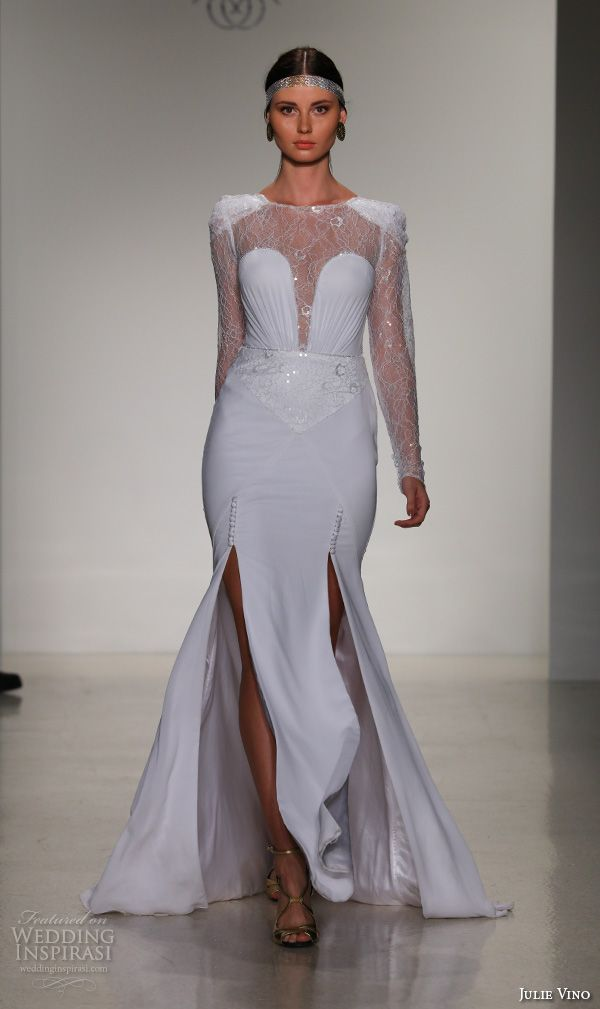 julie vino fall 2016 bridal gowns long sleeves lace jewel neckline chiffon sheath wedding dress 2 side slits style penelope