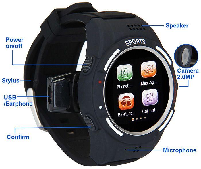 TW320S banda cuádruple Reloj Bluetooth del teléfono resistente al agua Teléfono del reloj del deporte Anti-Perdida para Vender - La Tienda En Online IGOGO.ES