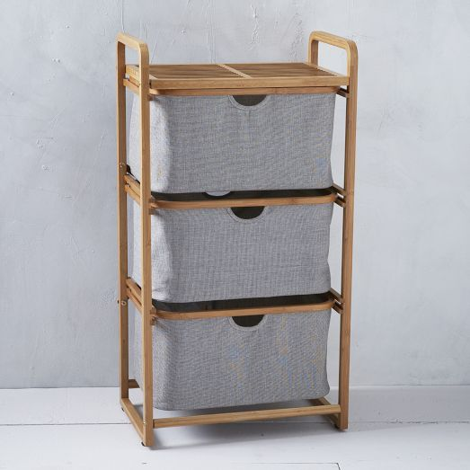 This Triple Shelving Hamper is made from rapidly-renewable bamboo and recycled plastic bottles. With three shelves to separate your clothes, it has never been easier to quickly locate and wash your favorite pair of jeans before you get to the rest of your laundry.