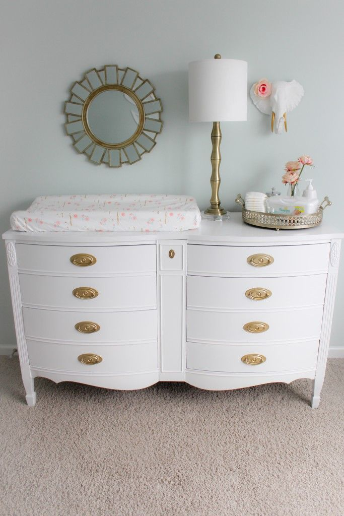 Refinished Dresser Painted White with Gold Hardware - love the pop of gold!