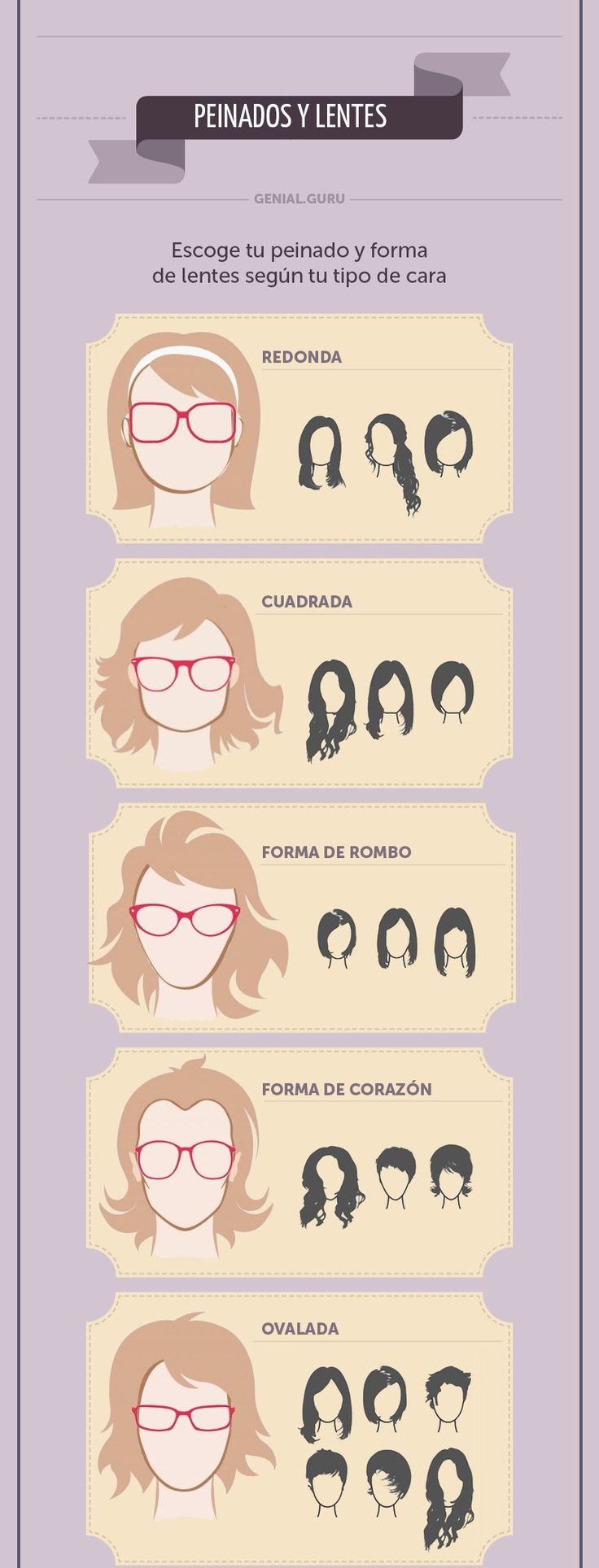 How to choose glasses and hairstyle according to your face shape.  Como escoger gafas y peinado de acuerdo a la forma de tu cara.