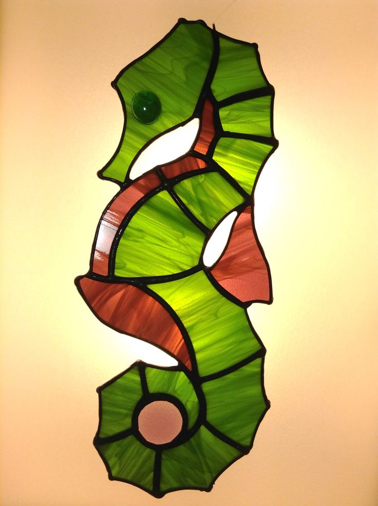 Seahorse Tiffany glass Window de BatiskafoCrafts en Etsy