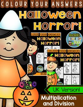 Ten Colour By Code Halloween Division and Multiplication Colour Your Answers Worksheets with Answer Keys Included. Adorable, Non-Scary Kids in Halloween Costumes Theme.  UK Version #FernSmithsClassroomIdeas