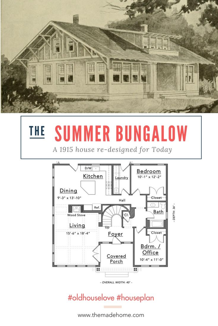 This 1915 Summer Bungalow Just Got A Whole Lot Better Bungalow Floor Plans Free House Plans Bungalow House Plans