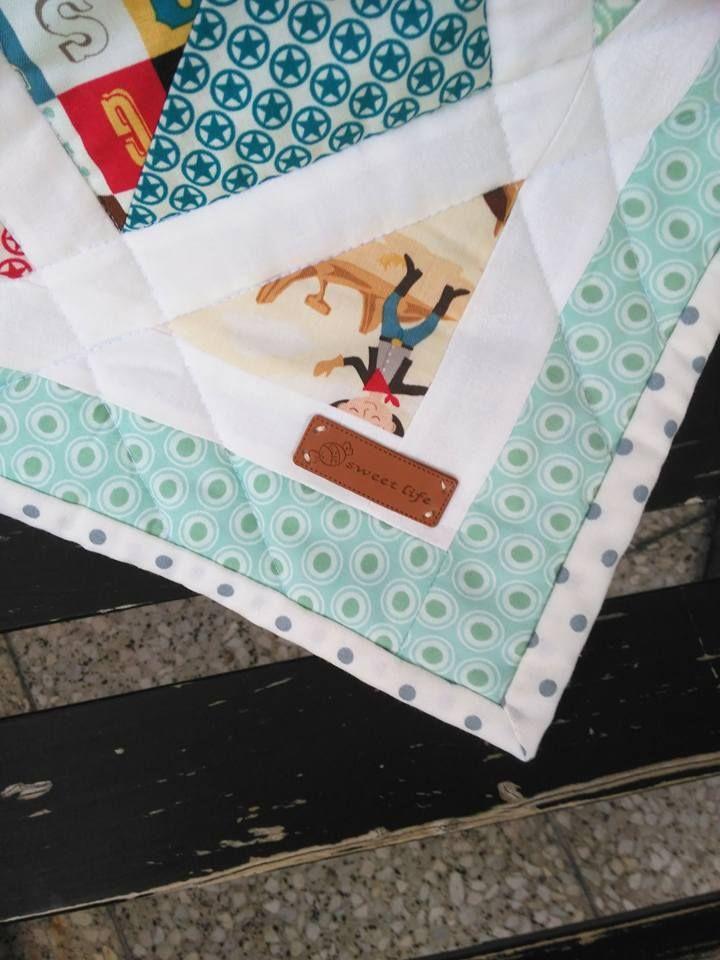 Sweet life... :o)  Chlapecká mimi deka vel. 70x90 cm. Charm park z kolekce Sasparilla od Riley Blake Design, zadní strana minky.