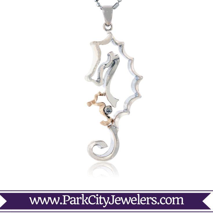 Mom & Baby Seahorse Pendant with Diamond  Sterling Silver & 14K Yellow Gold Sea Horse Pendant .03ctw Diamond Pendant