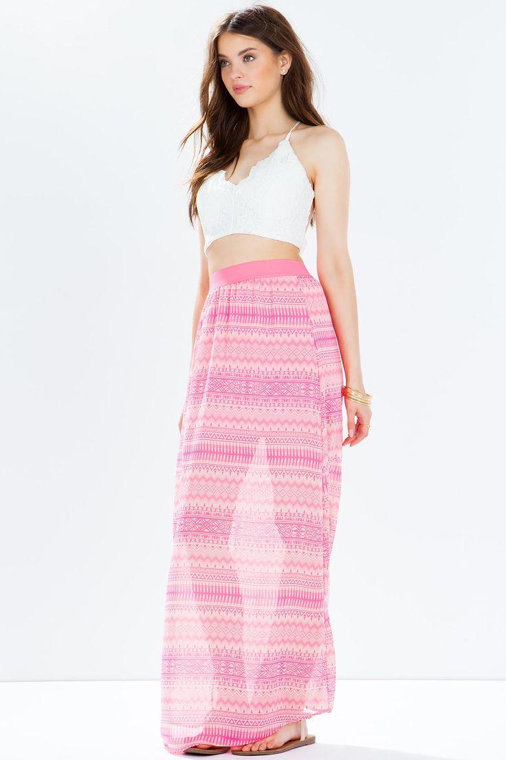 Юбка-макси Размеры: S, M, L Цвет: фуксия/розовый с принтом Цена: 407 руб.  #одежда #женщинам #юбки #коопт