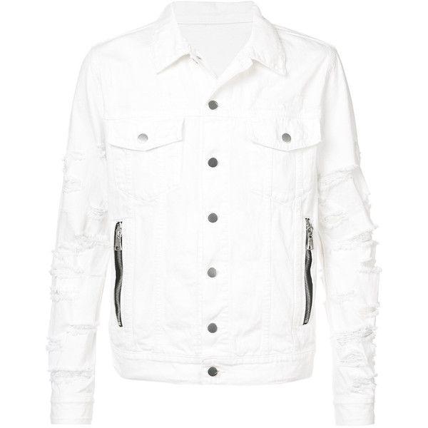 Balmain distressed denim jacket (64.970 RUB) ❤ liked on Polyvore featuring men's fashion, men's clothing, men's outerwear, men's jackets, white, mens summer jackets, mens sports jacket, mens white jacket, mens collared jacket and mens white sport jacket