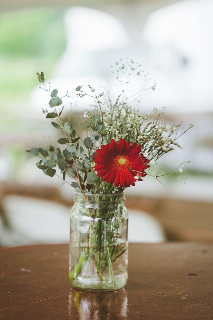 Red gerbera daisy and baby s breath centerpieceone gerber