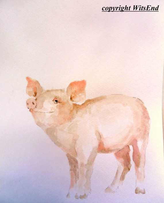Baby Pig painting original watercolor nursery art by 4WitsEnd, via Etsy