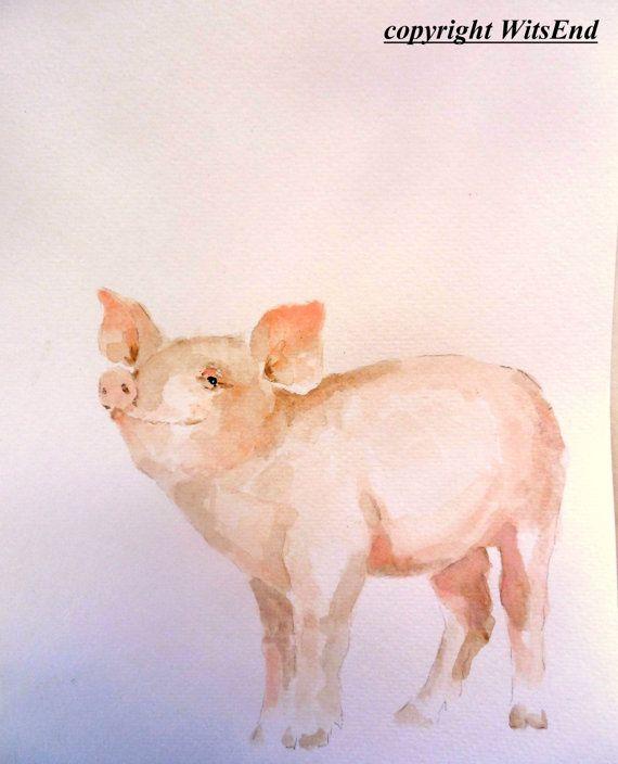 Baby Pig painting original  watercolor nursery art by 4WitsEnd, via Etsy