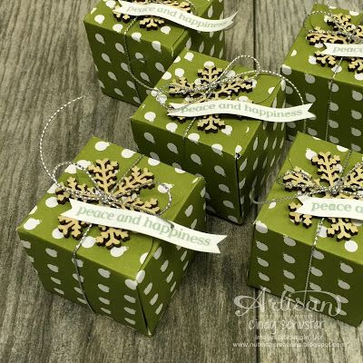 """With the Merry Moments Designer Series Paper Stack and Gift Box Punch Board, you can make 48 of these cute 2"""" gift boxes ~ Cindy Schuster"""