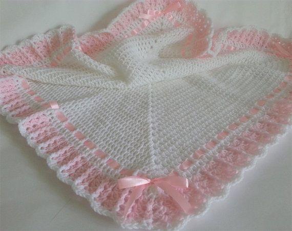 Crochet Baby Blanket And Hat Baby Girl Set White Afghan Pink Border Satin Ribbon Christ Baby Blanket Crochet Christening Baby Blanket Baby Girl Crochet Blanket