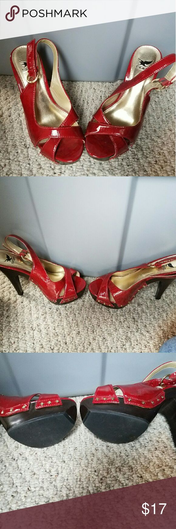 Shiekh high heel shoes Red high hill shiekh shoes. Good condition. Shoes don't have a size. I'm a 6.5 and they fit. shiekh Shoes Heels