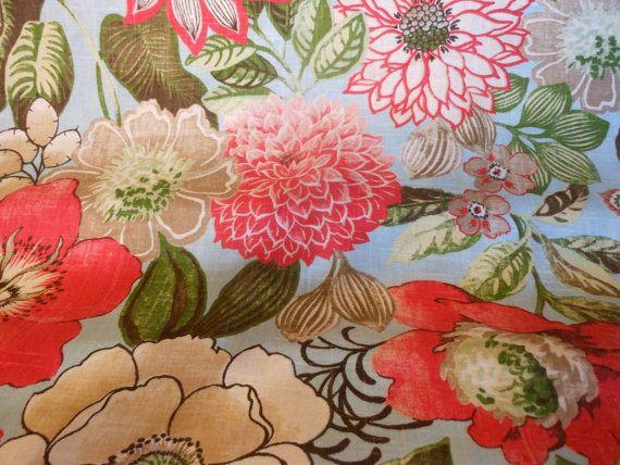 手机壳定制jordan retro   eastbay fresh vibrant FLORAL sky blue printed LINEN drapery by fabriczoo U