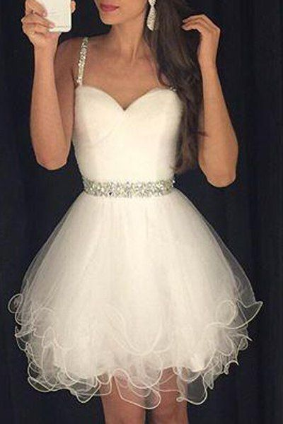Doux Spaghetti Strap strass Agrémentée robe de bal pour les femmes