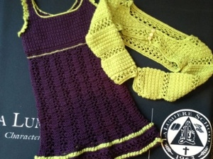 here's the completed dress with cardigan. sold for $70