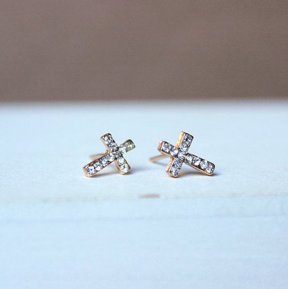 Orecchini con croce, orecchini dorati, gioielli minimal, gioielli per lei, idee regalo, gioielli, croce, orecchini crocetta, dorato