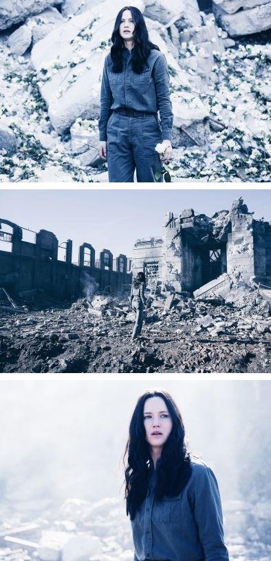 Katniss exploring the ruins of District 12 Mockingjay Part 1