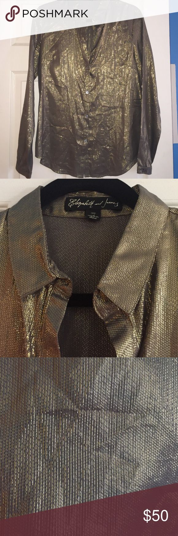 Elizabeth and James gold metallic blouse, medium Elizabeth and James gold metallic button down blouse, long sleeves, great condition, size medium Elizabeth and James Tops Button Down Shirts
