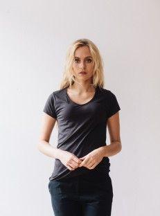 Classic black tee shirt, organic pima cotton.