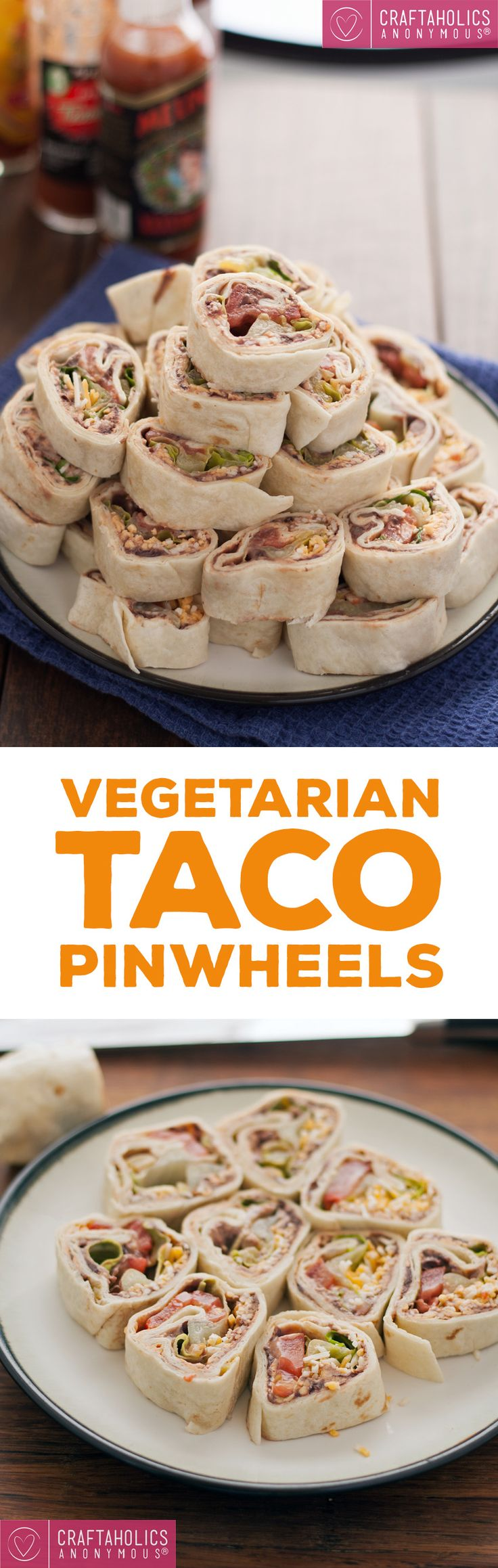 Perfect party food! Make these easy and delicious Vegetarian Taco Pinwheels!
