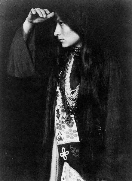 My Bohemian History Zitkala-Ša (Red Bird), given the name Gertrude Simmons Bonnin by boarding-school missionaries, was a Sioux crusader who wrote several books, and also was a musician who composed who the first opera by a Native American. She campaigned for the reform of the Indian policies in the Unites States. See her story at link. This photo of her is by Gertrude Käsebier. (Source: Pinterest)