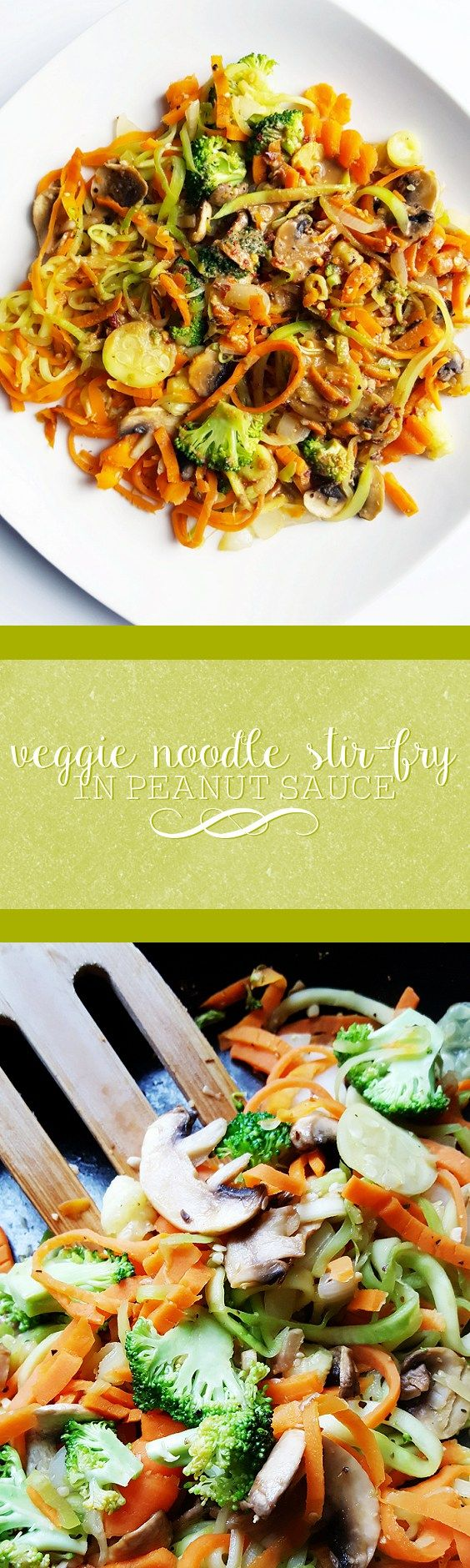 Veggie Noodle Stir-Fry in Peanut Sauce | Perfect for a light and simple meal, this stir-fry is filled with chopped and spiralized veggies and drizzled with a bold and flavorful peanut sauce.