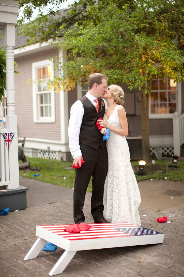 American and British Wedding Theme! Wedding Entertainment - Corn Hole! Venue | Gardens of Bammel Lane (Houston Houston Wedding Photographer | Christa Elyce Photography ©ChristaElyce.com www.christaelyce.com