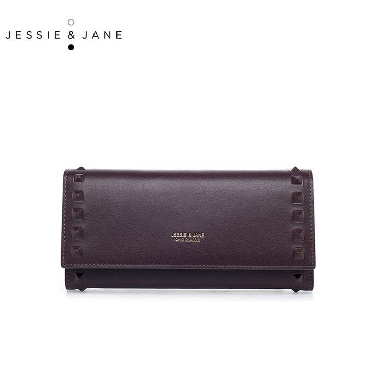 Джесси и Джейн новый простой заклепки Длинные женские кошельки модные женские туфли спилок кошельки дамы спилок Кошельки 5461 купить на AliExpress