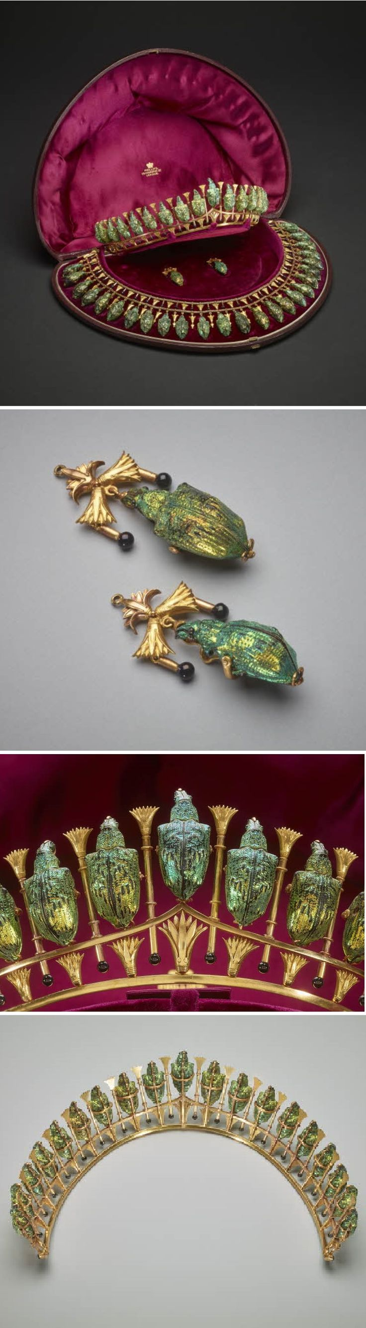 Lady Granville's Egyptian Revival parure, Phillips Bros., London, 1884-85. Comprising a tiara, necklace and earrings formed of dried South American weevils with iridescent green wing cases, mounted in gold in the Egyptian taste with lotus motifs. On the necklace and earrings, the lotuses are interspersed with tiny gold rods ending in black enamel beads. #PhillipsBrothers #ArchaeologicalRevival