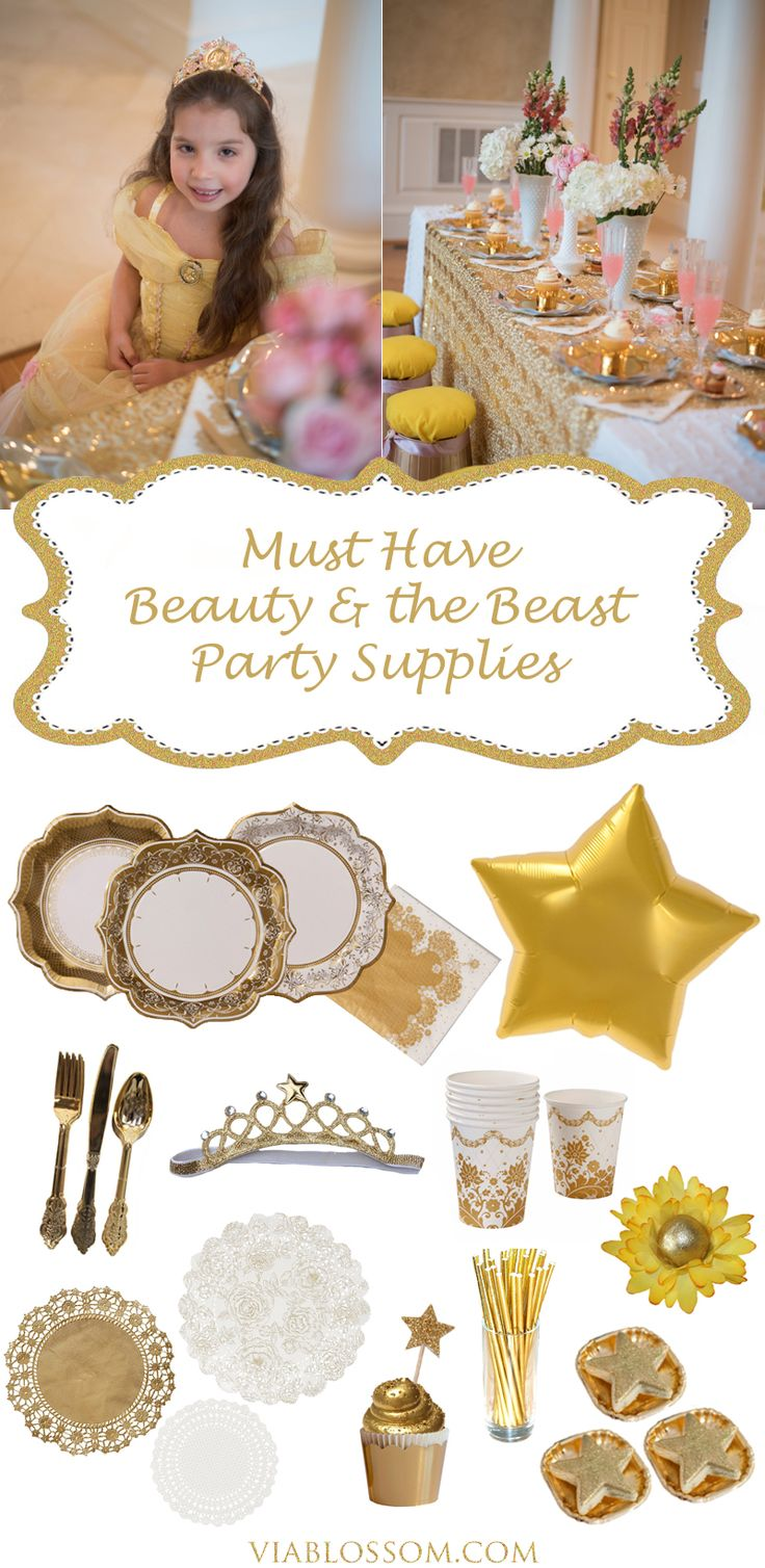 Must have Beauty and the Beast Party Supplies for a magical princess birthday party. #beautyandthebeastparty #princesspartyideas #beautyandthebeastbirthday #princessparty