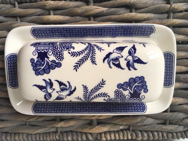 Churchill China Blue Willow Covered Butter Dish by AnEVintages1 on Etsy