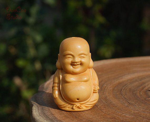 Natural Wood  1pcs Boxwood Carved Maitreya Buddha by DaoCaoStudio
