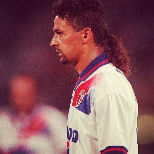 Roberto Baggio. Hair goals.  #footballshirtcollective