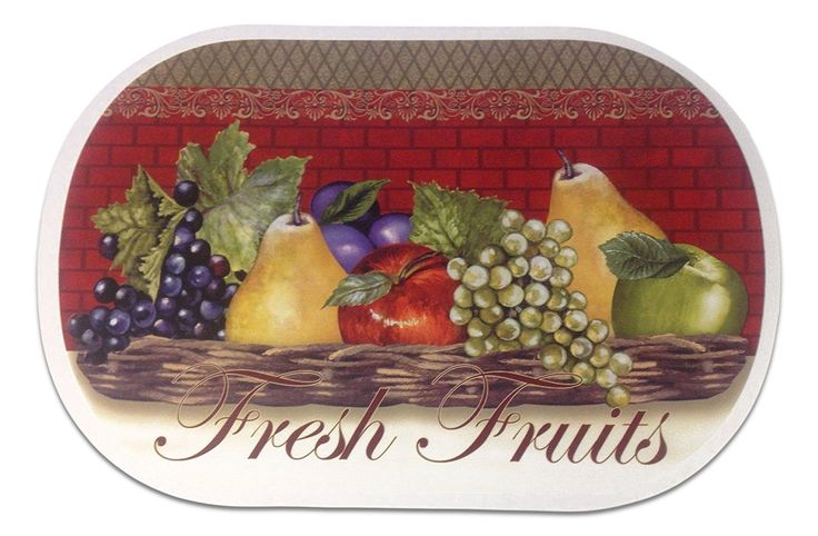 """Unique and Custom {12' x 18' Inch} Set Pack of 6 Oval """"Flat and Smooth Texture"""" Large Table Placemats Made of Flexible Vinyl w/ Fresh Fruits Food Grapes Apple Design [Colorful Red, Brown, Green and Tan] >>> Special  product just for you. See it now! : Food Service Equipment Supplies"""