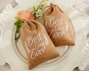 Best Day Ever Burlap Favor Bags (Set of 12) - By Kate Aspen