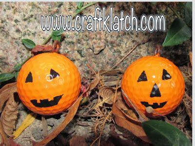 Craft Klatch: Golf Ball Pumpkins - Halloween Recycling Craft