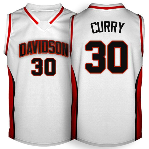 Davidson Wildcats #30 Stephen Curry White Jersey