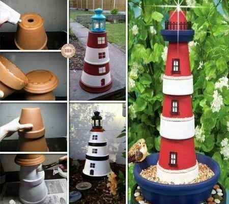 Lighthouse bird feeder made out of clay pots.