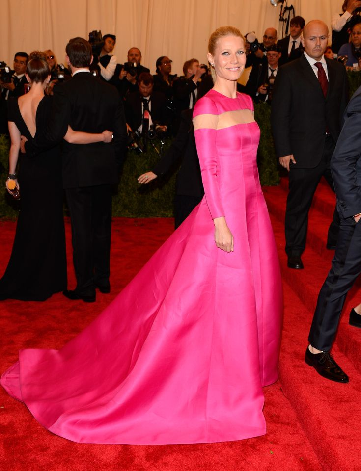 """Gwyneth Paltrow wore a custom Valentino Haute Couture Corolle gown in """"pink coral"""" silk gazar with an insert of nude tulle around the shoulders to the MET Gala New York May 6th, 2013. www.valentino.com"""