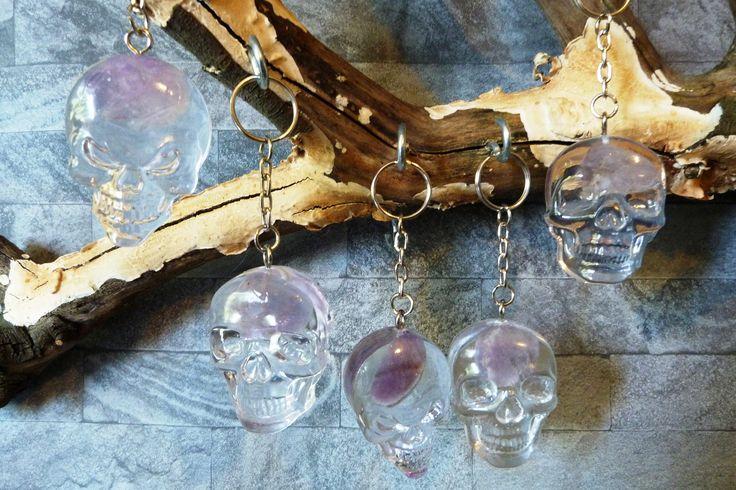 Amethyst stone, biker key chain, custom key ring, skull key ring, goth key ring, skull charm, skull keyring charm, skull fob, skull key fob, by ZascreationsCrafts on Etsy