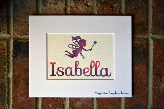 Fairy watercolor personalized name art, faerie girl name painting wall art for girls, girls nursery decor custom name sign, girls name art by BlueJayBay